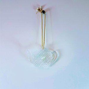 #H12 Mikasa Germany Glass Teapot Hanging Ornament